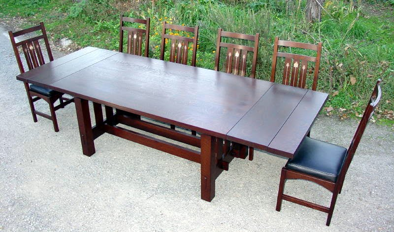 Shown with both leaves inserted  seats ten  Larger or smaller tables  available  variousVoorhees Craftsman Mission Oak Furniture   Gustav Stickley Harvey  . Rectangular Dining Tables With Leaves. Home Design Ideas