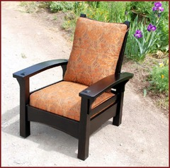 Same form shown with quality Arts & Crafts style fabric.  Available in various fabrics or fine leathers.