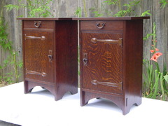 Pair of cabinets with right and left hand doors for use as matching nightstands.