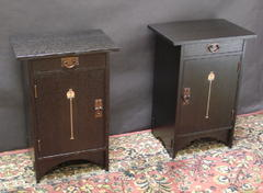 Pair shown in Ebony stain. Hinged left and right side for use as nightstands  on each side of a bed.