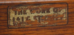 "Remnants L.& J.G. Stickley decal signature: ""The Work Of L. & J.G. Stickley"", circa 1912 - 1918."