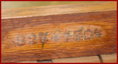 Original Morris chair model numbers stenciled on the inside of the rear seat stretcher.