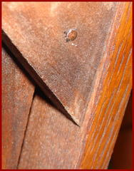 Nail head on one of the glue blocks under the seat, showing the nail head with a trace of paper label signature.