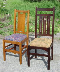 "Shown with an original Gustav Stickley ""H-back"" dining chair for scale."
