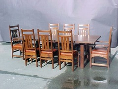 Inlaid dining chairs shown with conference table.