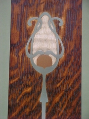 Detail: pewter, copper, curly maple inlay...arm chair.