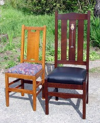 "Side chair shown with original Gustav Stickley ""H-back"" dining chair for scale."