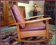 Side view of the reclining Limbert Morris Rocker,  shown in the upright first of three positions.