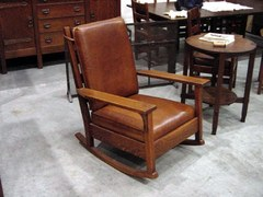 "Addtional image ""open-arm"" large Gustav Stickley rocker."