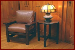 Shown with our accurate replicas of a Gustav Stickley early lamp table and Eastwood chair, in a Greene & Greene room.  Table model #601, Gustav Stickley Eastwood chair model #347.