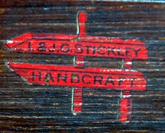 "L.&J.G. Stickley signature ""Handcraft"" red decal circa 1906 to 1912."
