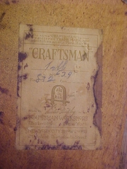 "Gustav Stickley Craftsman paper label, refers to model #634 and ""light finish""."