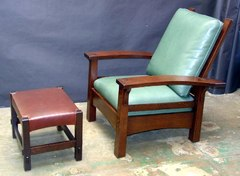 Shown with replica Gustav Stickley Bow-Arm Morris chair.
