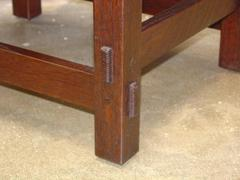 Detail pinned true through-tenons, two per leg.