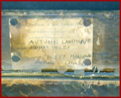 "Original exhibition label on reverse....  ""Art Institute of Arts, Detroit Mich."", Annual Exhibition...TITLE: ""Autumn Landscape""...ARTIST: ""Sidney Peles""...ADDRESS: ....Marlowe, Detroit, Mich."