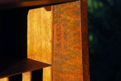 "Large 2 1/2"" tall early ""Stickley in the box"" Gustav Stickley red decal signature, 1902-1903."
