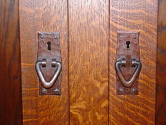 Close-up hand hammered copper pulls over keyed locks.  Locks made in Germany, everthing else made in U.S.A.