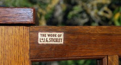 "Signed by decal inside of door ""The Work of L.& J.G. Stickley"", circa 1912."