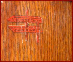 "Original ""L.&J.G. Stickley red handcraft decal label reading: ""L.&J.G. Stickley, Handcraft""...in use from around 1906 to 1912."