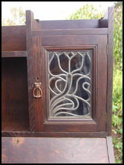 Detail Floral Design Leaded Glass Cabinet Door.