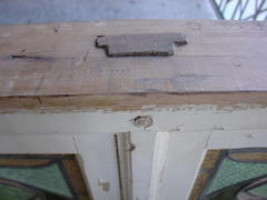 Detail pinned mortise and tenon construction of window frame.