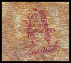 Gustav Stickley red decal signature in the bottom of the second drawer.