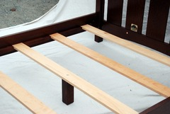 View of mattress supports on Queen bed.