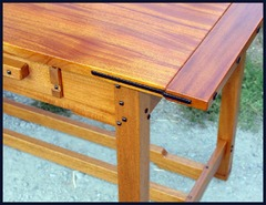 Detail Ebony splines and beveled square Ebony pegs on the edge of table and legs.