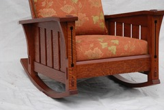 Detail pinned through tenons, beveled and arched front seat rail and Ebony inlay.