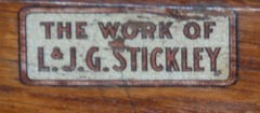 "Close-up signature decal ""The Work of L & J G Stickley"" c 1912-1918."