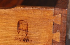 Branded Gustav Stickley signature on side of drawer. Circa 1912-1916.