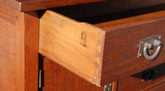 Gustav Stickley branded signature on drawer.   1912-1916