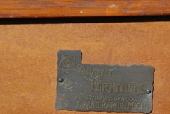 "Stickley Brothers signature brass tag: ""Quaint Furniture"" ""Stickley Bros. Co.,