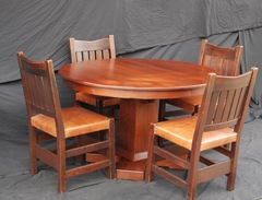 Shown with four original Gustav Stickley v-back dining chairs shown for scale.