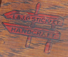"L & J G Stickley ""Handcraft"" red decal signature, 1907-1912,"