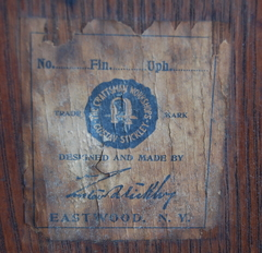 Gustav Stickley early Eastwood paper label. Circa 1905-1907.