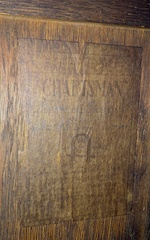 Gustav Stickley paper label on the back of cabinet.