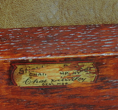 Signed with a partial decal: Stickley Brandt Chair Company, Chas. Stickley, Gen. Mgr.