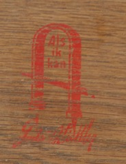 Large red decal Gustav Stickley signature in drawer.  Circa 1904 to 1906.