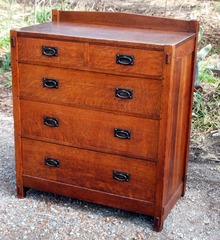 Gustav Stickley early chest dresser, oblique view outdoors.