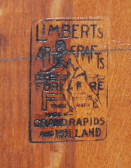 Limbert's branded signature under the chair bottom.  The desk is signed inside the drawer.