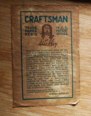 Gustav Stickley paper label signature and guarantee.