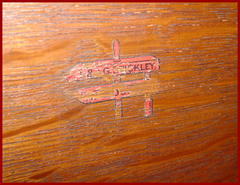 "Decal signature on the back of the bookcase... ""L.& J.G. Stickley, Handcraft"" circa 1906-1912."