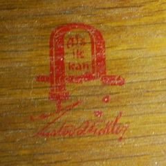 Gustav Stickley signature red decal in drawer. Circa 1905 - 1912.