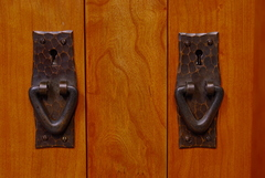Pair hand hammered copper door pulls with quality keyed locks. (accurate replicas of the original Gustav Stickley door pulls.