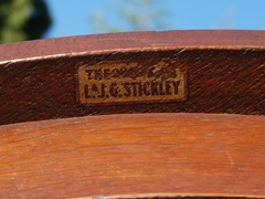 "1912-1918 L.&J.G. Stickley decal signature.  ""The work of L.&J.G. Stickley""."
