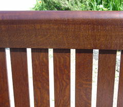 Slats on back of settle, usually covered with the three leather cushions included.