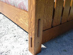 "Detail of pinned true thru-tenons in front leg and ""slats-to-the-floor"" side.  This quality settle is crafted with ten thru-tenons."