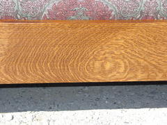 Detail hand-selected quarter-sawn white oak grain in front seat rail.