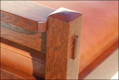 Detail pinned true through-tenons.